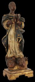A fine carved and polychromed wood statue of Our Lady of Aparacida