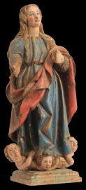 An 18th Century carved and polychromed figure of the Immaculate Conception