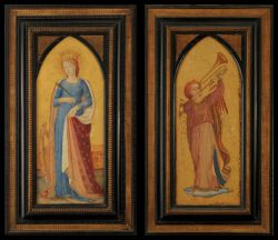 A pair of Gilded Watercolours depicting St Catherine of Alexandria and The Angel Gabriel inthe Renaissance manner