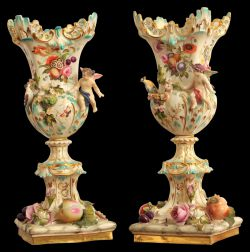 A pair of exceptional quality 19th Century Coalbrookdale Vases