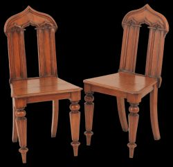 A pair of 19th Century Blonde Oak Hall Chairs
