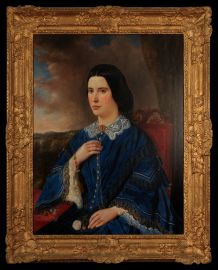 A 19th Century Portrait of a Young Woman in a Blue Dress with Lace collar and cuffs and jewellery of the period