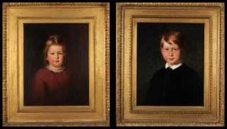 A Pair of Portraits of a young Brother and Sister